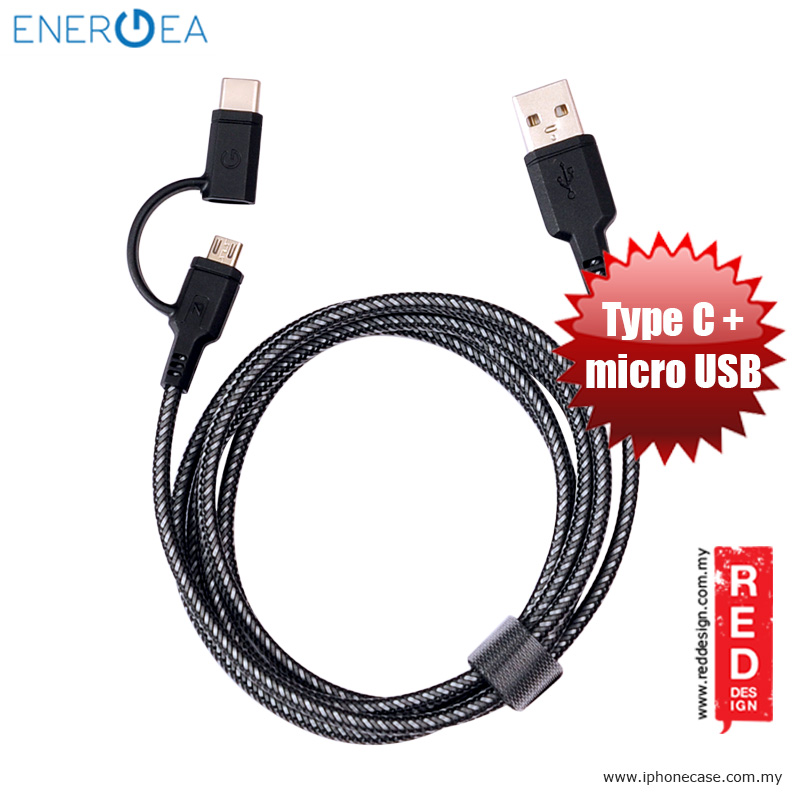 Picture of Energea NYLOTOUGH 2 in 1 MicroUSB Type C Rapid Charge and Sync Braid Cable 1.5M - Black Red Design- Red Design Cases, Red Design Covers, iPad Cases and a wide selection of Red Design Accessories in Malaysia, Sabah, Sarawak and Singapore