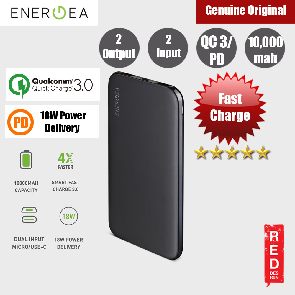 Picture of Energea  SLIMPAC PQ1209 USB C PD Power Delivery 18W Power Bank 10000mAh for iPhone Huawei Samsung Red Design- Red Design Cases, Red Design Covers, iPad Cases and a wide selection of Red Design Accessories in Malaysia, Sabah, Sarawak and Singapore