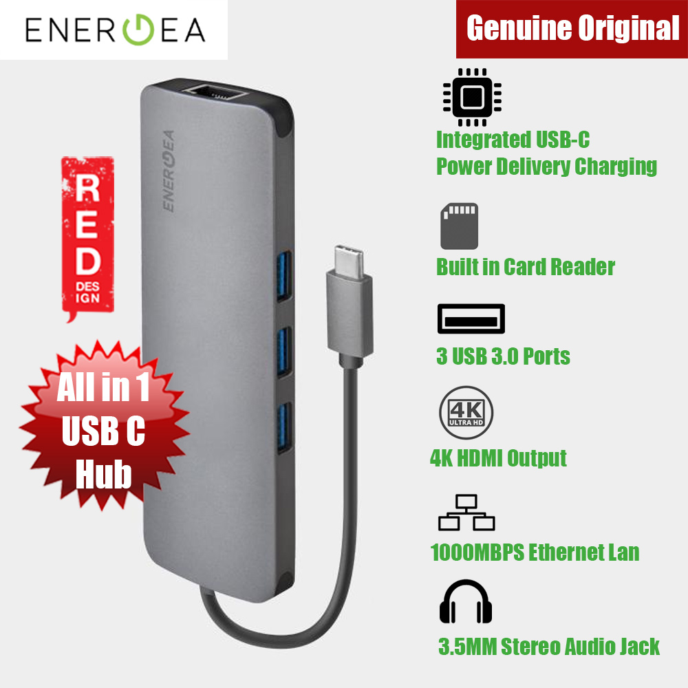 Picture of Energea ALUHUB C4K All In One  Aluminium 3.1 USB C  Charging at 60W for MacBook Red Design- Red Design Cases, Red Design Covers, iPad Cases and a wide selection of Red Design Accessories in Malaysia, Sabah, Sarawak and Singapore