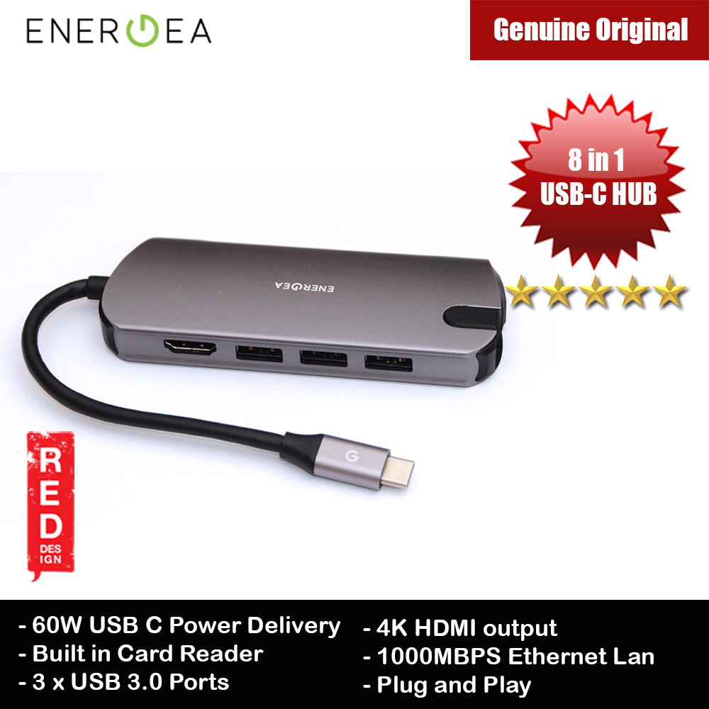 Picture of Energea ALUHUB HDPRO 8 in 1 USB-C Hub 8 in 1 Premium Multi Port Aluminium Adapter with 60W Type-C Power Delivery Port  4K HDMI 1000Mbps Ethernet Port 3 USB 3.0 Ports SD Card Reader for MacBook Pro Chromebook Red Design- Red Design Cases, Red Design Covers, iPad Cases and a wide selection of Red Design Accessories in Malaysia, Sabah, Sarawak and Singapore