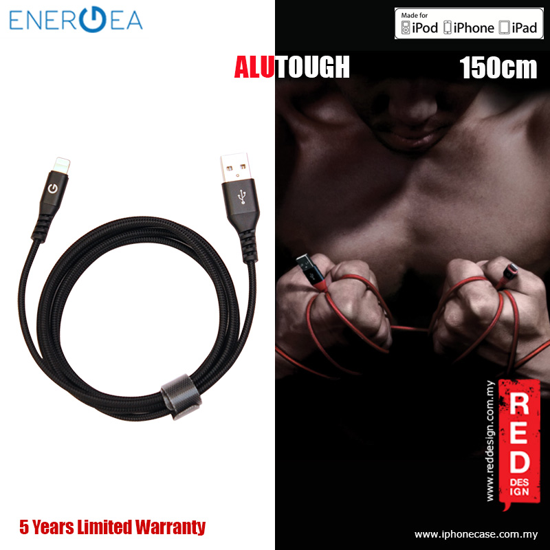 Picture of Energea ALUTOUGH MFI Charge and Sync Lightning Cable 2.4A Speed Charging 150cm - Black Red Design- Red Design Cases, Red Design Covers, iPad Cases and a wide selection of Red Design Accessories in Malaysia, Sabah, Sarawak and Singapore