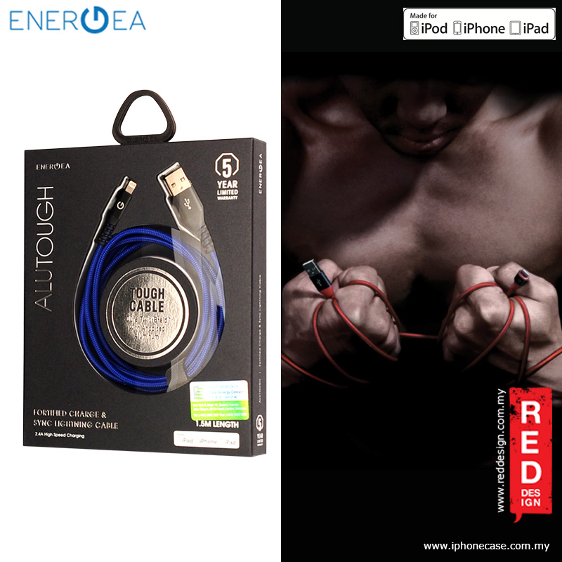 Picture of Energea ALUTOUGH MFI Charge and Sync Lightning Cable 2.4A Speed Charging 150cm - Blue