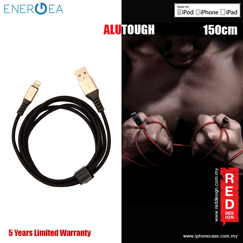 Picture of Energea ALUTOUGH MFI Charge and Sync Lightning Cable 2.4A Speed Charging 150cm - Gold Red Design- Red Design Cases, Red Design Covers, iPad Cases and a wide selection of Red Design Accessories in Malaysia, Sabah, Sarawak and Singapore