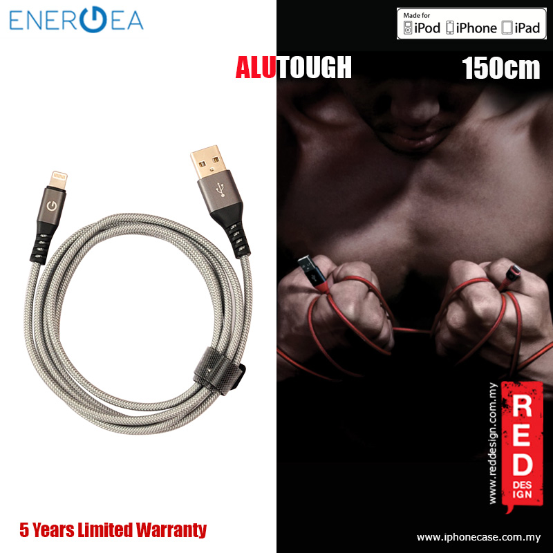 Picture of Energea ALUTOUGH MFI Charge and Sync Lightning Cable 2.4A Speed Charging 150cm - Gunmetal Red Design- Red Design Cases, Red Design Covers, iPad Cases and a wide selection of Red Design Accessories in Malaysia, Sabah, Sarawak and Singapore