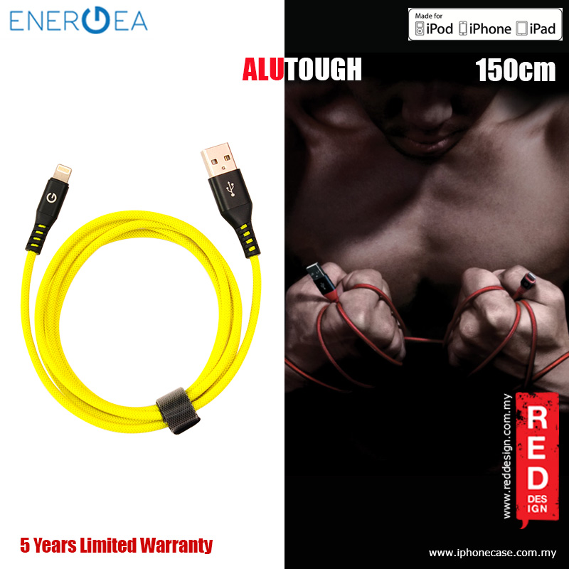 Picture of Energea ALUTOUGH MFI Charge and Sync Lightning Cable 2.4A Speed Charging 150cm - Yellow Red Design- Red Design Cases, Red Design Covers, iPad Cases and a wide selection of Red Design Accessories in Malaysia, Sabah, Sarawak and Singapore