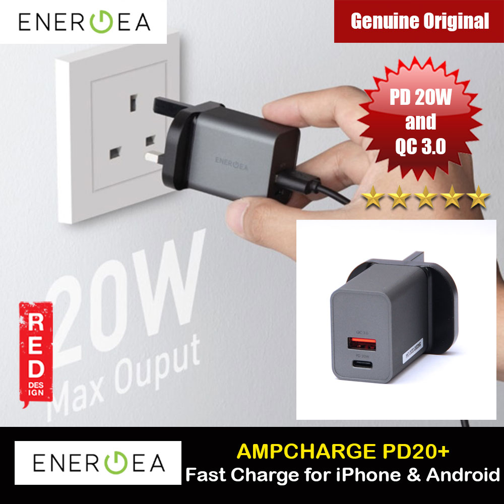 Picture of Energea AMPCHARGE PD20 Plus USB-A TYPE C Wall Fast Charger 20W Max PD Power delivery QC 3.0 for iPhone 12 iPhone 11 Pro Max Android Phone Red Design- Red Design Cases, Red Design Covers, iPad Cases and a wide selection of Red Design Accessories in Malaysia, Sabah, Sarawak and Singapore