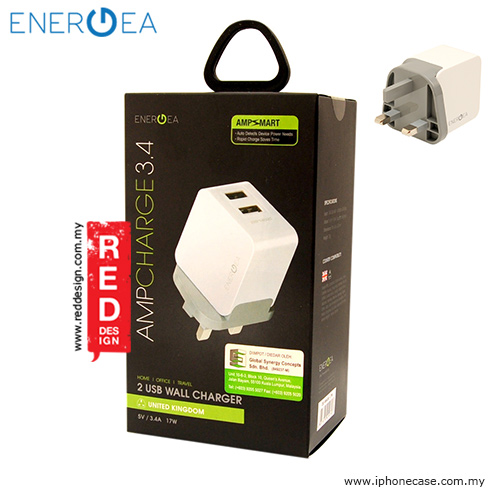 Picture of Energea AMPCHARGE DUO USB Wall Charger 3.4A - White Red Design- Red Design Cases, Red Design Covers, iPad Cases and a wide selection of Red Design Accessories in Malaysia, Sabah, Sarawak and Singapore