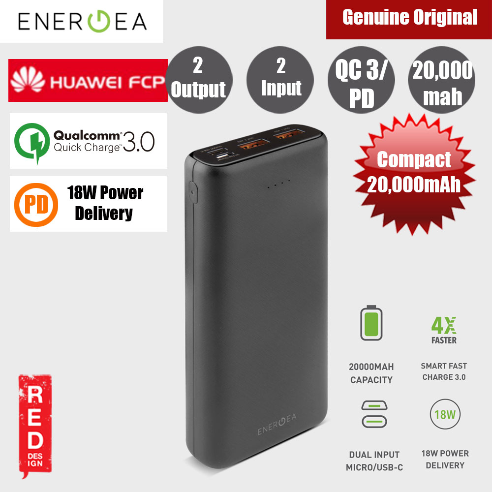 Picture of Energea  Compac Ultra USB C PD Power Delivery 18W Power Bank 20000mAh for iPhone Huawei Samsung Red Design- Red Design Cases, Red Design Covers, iPad Cases and a wide selection of Red Design Accessories in Malaysia, Sabah, Sarawak and Singapore