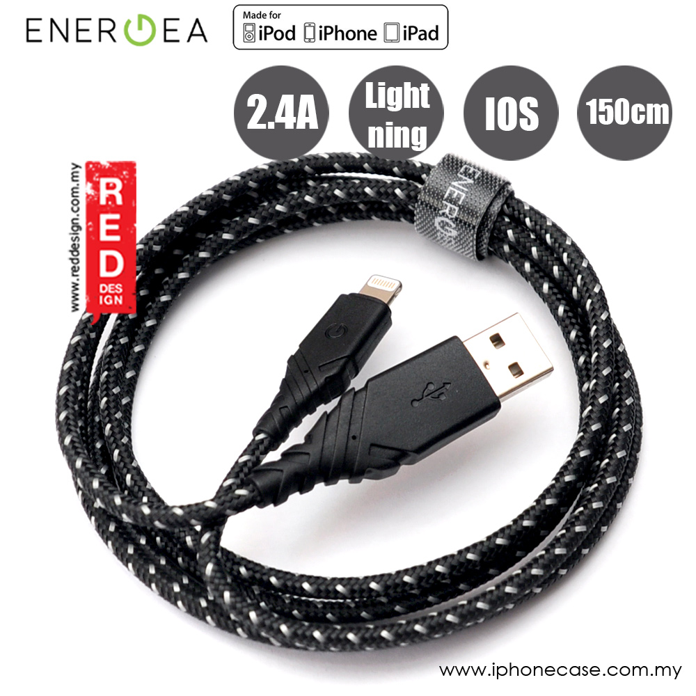 Picture of Energea DuraGlitz MFI Charge and Sync Lightning Cable 2.4A Speed Charging 150cm (Black)