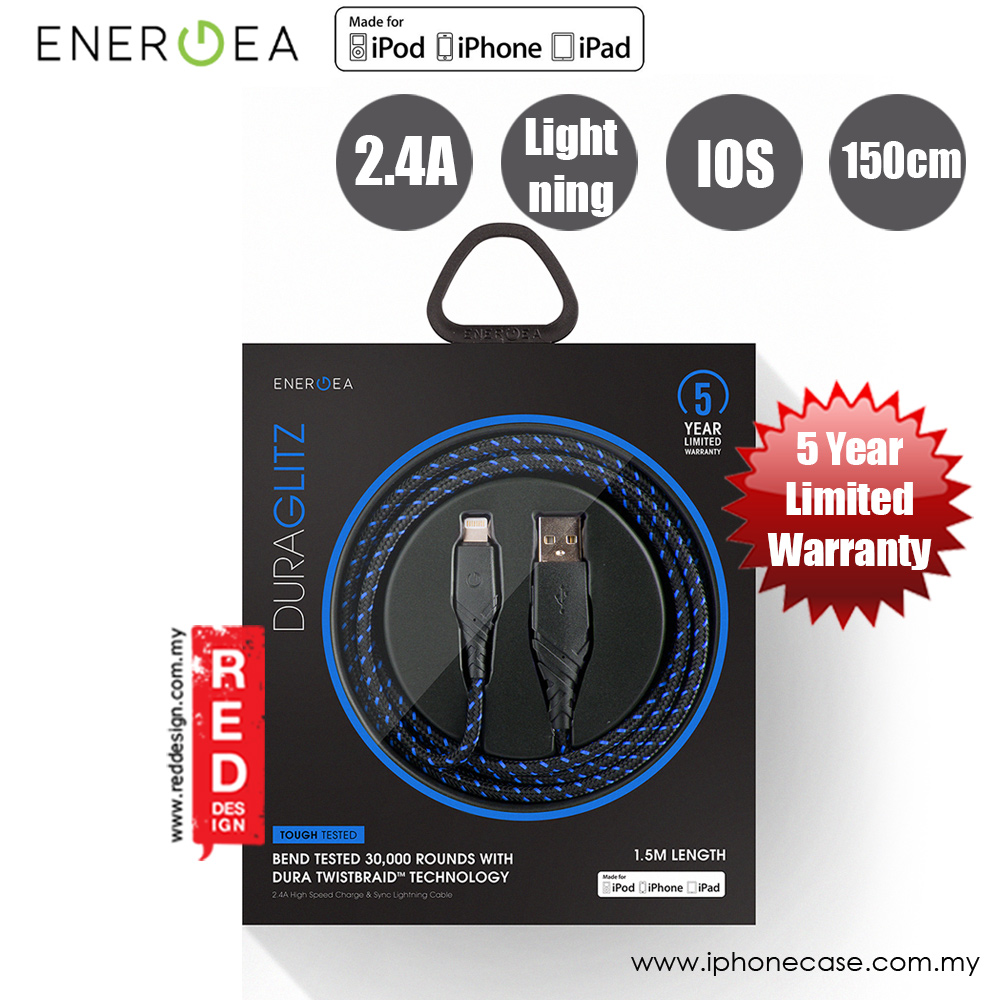 Picture of Energea DuraGlitz MFI Charge and Sync Lightning Cable 2.4A Speed Charging 150cm (Blue)