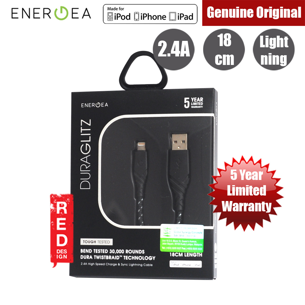Picture of Energea DuraGlitz MFI Charge and Sync Lightning Cable 2.4A Speed Charging 18cm (Black) Red Design- Red Design Cases, Red Design Covers, iPad Cases and a wide selection of Red Design Accessories in Malaysia, Sabah, Sarawak and Singapore