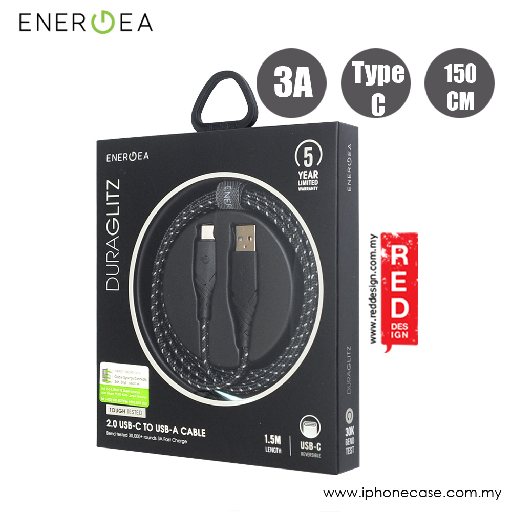 Picture of Energea DuraGlitz 3A Fast Speed Charging Type-C Cable 150cm (Black) Red Design- Red Design Cases, Red Design Covers, iPad Cases and a wide selection of Red Design Accessories in Malaysia, Sabah, Sarawak and Singapore