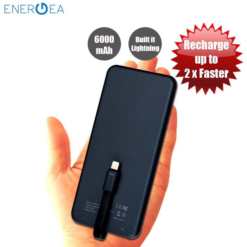 Picture of Energea Integra 6000i Ultra Slim Power Bank with MFI Integrated Lightning Cable - Gunmetal