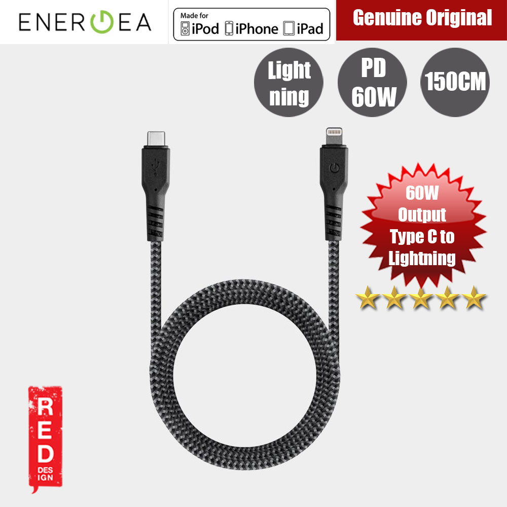 Picture of Energea FIBRA TOUGH Type C to  Lightning PD Fast Charge 60W Cable for Apple iPhone X XS Max iPhone 8 Plus iPad 150cm (Black) Red Design- Red Design Cases, Red Design Covers, iPad Cases and a wide selection of Red Design Accessories in Malaysia, Sabah, Sarawak and Singapore