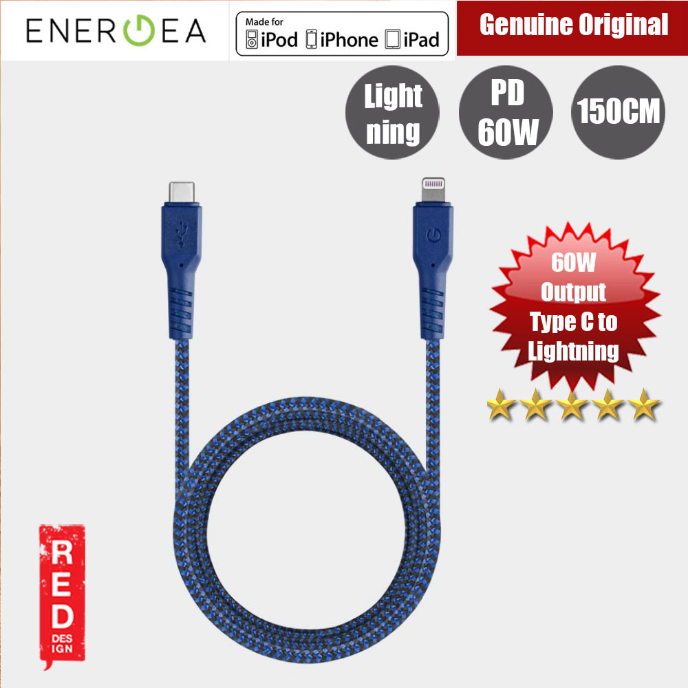 Picture of Energea FIBRA TOUGH Type C to  Lightning PD Fast Charge 60W Cable for Apple iPhone X XS Max iPhone 8 Plus iPad 150cm (Blue) Red Design- Red Design Cases, Red Design Covers, iPad Cases and a wide selection of Red Design Accessories in Malaysia, Sabah, Sarawak and Singapore
