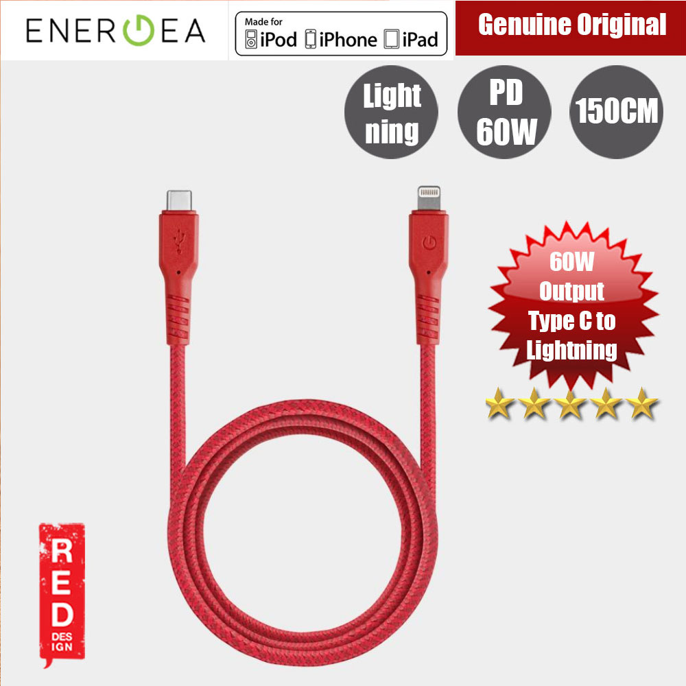 Picture of Energea FIBRA TOUGH Type C to  Lightning PD Fast Charge 60W Cable for Apple iPhone X XS Max iPhone 8 Plus iPad 150cm (Red) Red Design- Red Design Cases, Red Design Covers, iPad Cases and a wide selection of Red Design Accessories in Malaysia, Sabah, Sarawak and Singapore