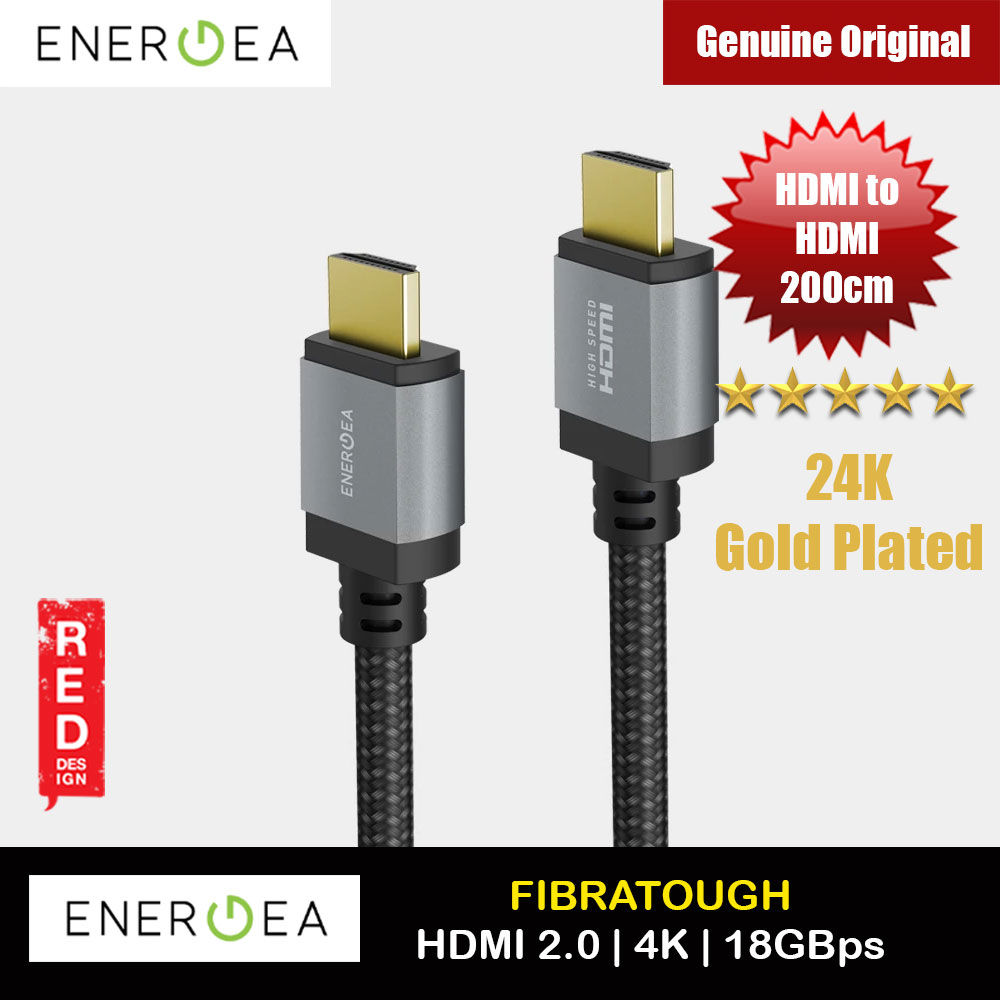 Picture of Energea Fibra Tough 24K Gold Plate 4K HDMI to HDMI 2.0 with Audio Return Channel 18GBps Bandwidth Ethernet High Definition Compatible HDMI Cable (200cm) Red Design- Red Design Cases, Red Design Covers, iPad Cases and a wide selection of Red Design Accessories in Malaysia, Sabah, Sarawak and Singapore