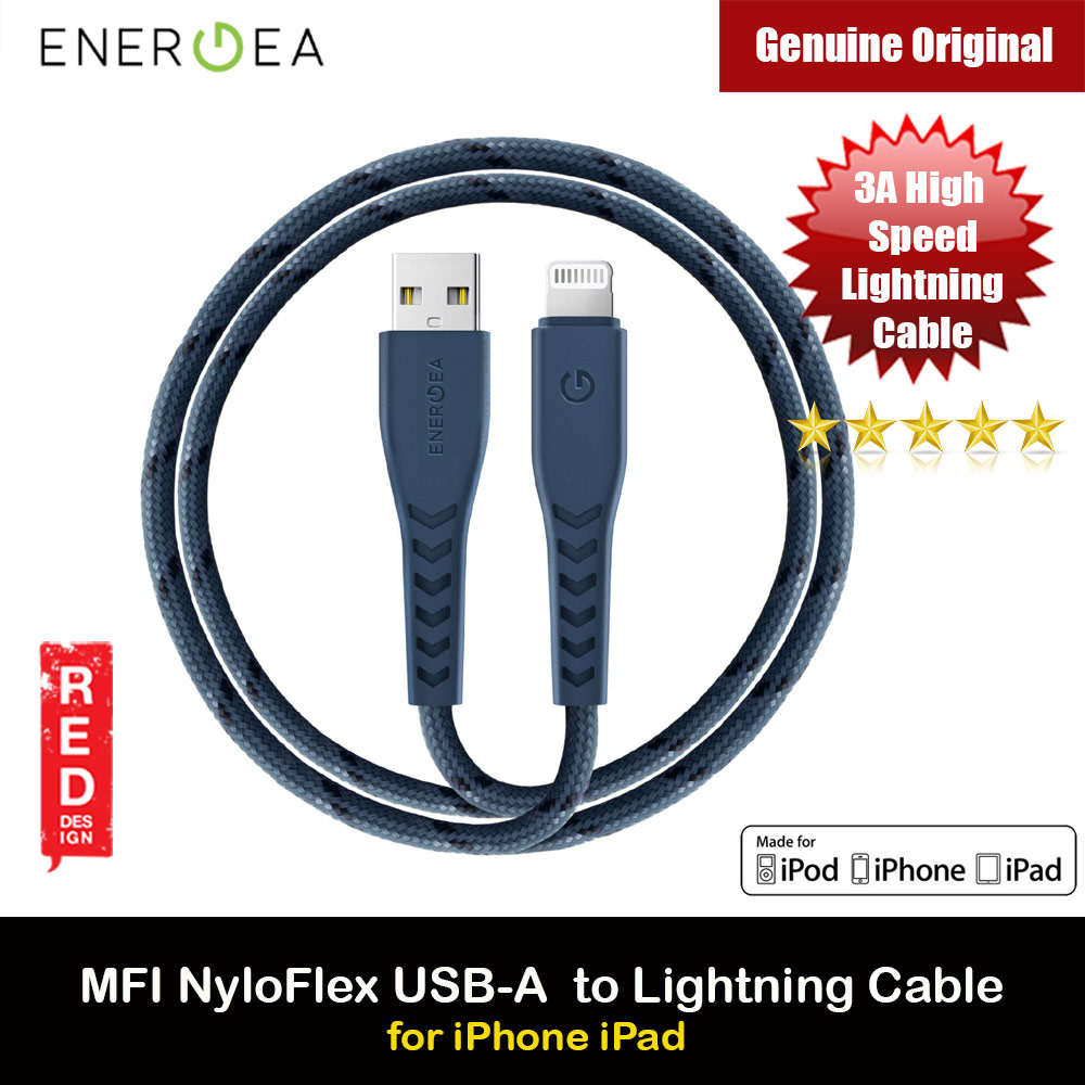 Picture of Energea NYLOFLEX MFI 3A Rapid Charge and Sync Lightning Cable 150CM (Blue) Red Design- Red Design Cases, Red Design Covers, iPad Cases and a wide selection of Red Design Accessories in Malaysia, Sabah, Sarawak and Singapore