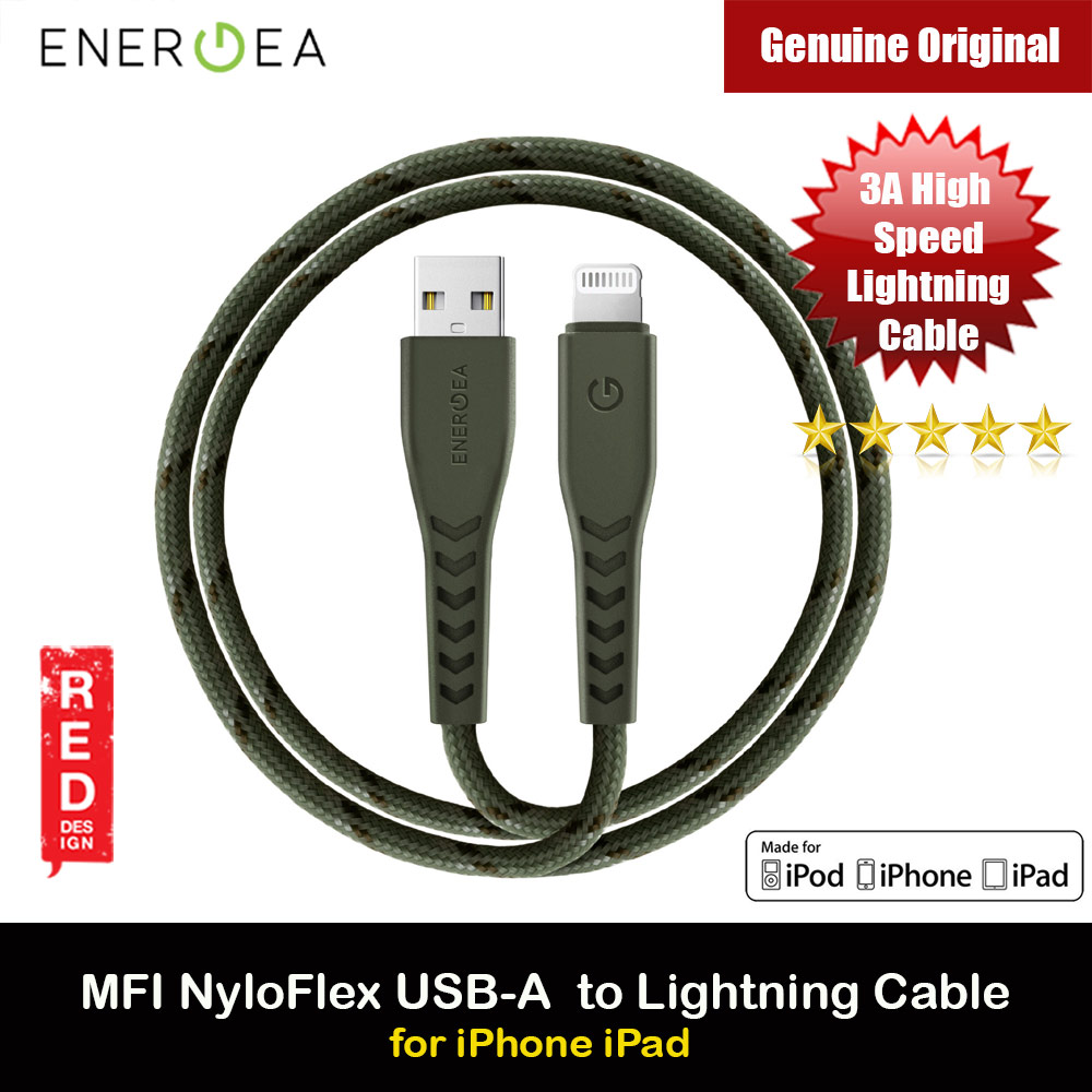 Picture of Energea NYLOFLEX MFI 3A Rapid Charge and Sync Lightning Cable 150CM (Green) Red Design- Red Design Cases, Red Design Covers, iPad Cases and a wide selection of Red Design Accessories in Malaysia, Sabah, Sarawak and Singapore