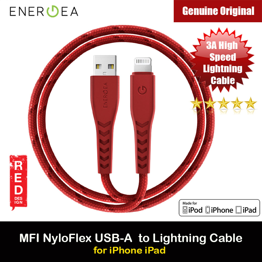 Picture of Energea NYLOFLEX MFI 3A Rapid Charge and Sync Lightning Cable 150CM (Red) Red Design- Red Design Cases, Red Design Covers, iPad Cases and a wide selection of Red Design Accessories in Malaysia, Sabah, Sarawak and Singapore