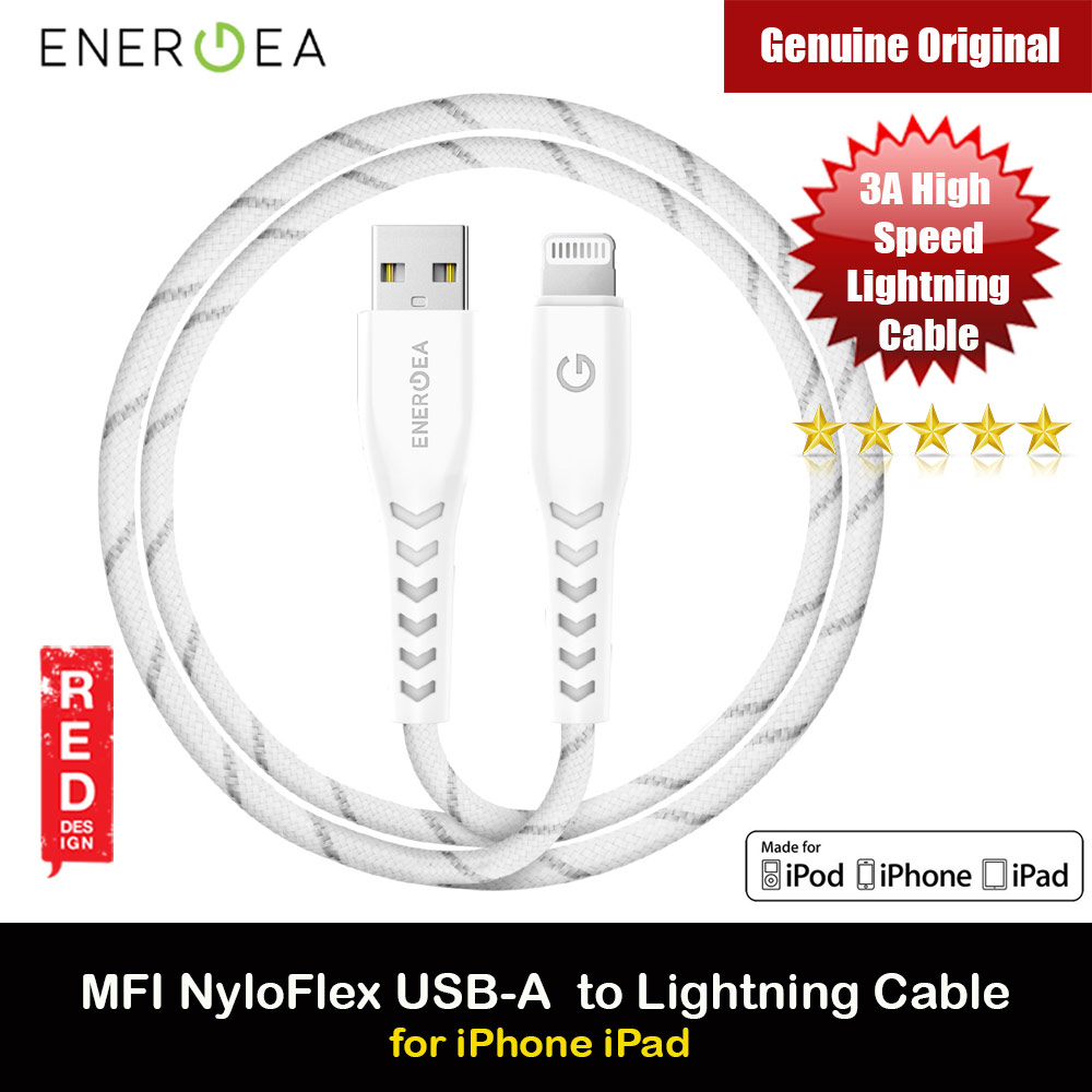 Picture of Energea NYLOFLEX MFI 3A Rapid Charge and Sync Lightning Cable 150CM (White) Red Design- Red Design Cases, Red Design Covers, iPad Cases and a wide selection of Red Design Accessories in Malaysia, Sabah, Sarawak and Singapore