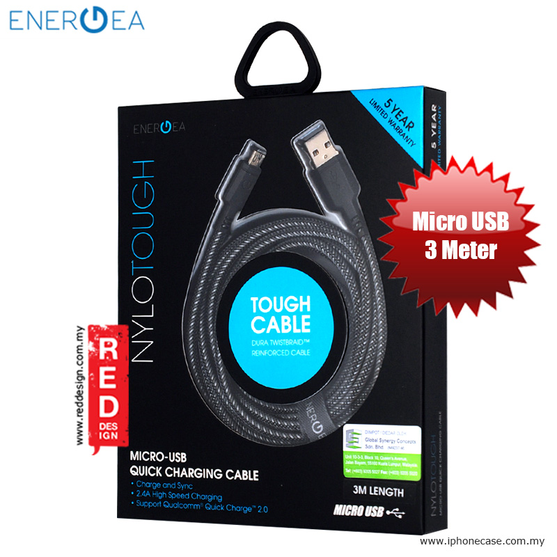 Picture of Energea NYLOTOUGH Micro USB Rapid Charge and Sync Braid Cable 3M - Black Red Design- Red Design Cases, Red Design Covers, iPad Cases and a wide selection of Red Design Accessories in Malaysia, Sabah, Sarawak and Singapore