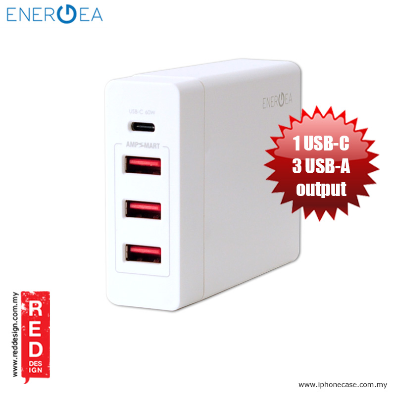 Picture of Energea POWERHUB4C USB-C and 3 USB-A Charging Station for Macbook Pro Type C Fast Charge Red Design- Red Design Cases, Red Design Covers, iPad Cases and a wide selection of Red Design Accessories in Malaysia, Sabah, Sarawak and Singapore