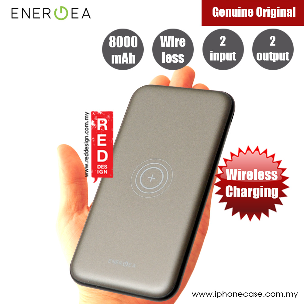 Picture of Energea Slimpac 8000W 8000mAh Slim Power Bank with Wireless Charging (Gunmetal) Red Design- Red Design Cases, Red Design Covers, iPad Cases and a wide selection of Red Design Accessories in Malaysia, Sabah, Sarawak and Singapore