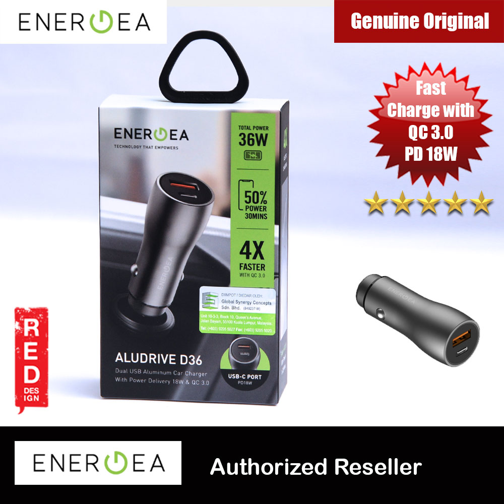 Picture of Energea AluDrive D36 Dual USB 2 USB Fast Charge Car Charger USB C Power Delivery 18W PD18 QC 3.0 Total Power 36W for iPhone 11 Pro Max Google Pixel 4 Samsung Galaxy S10 Plus Red Design- Red Design Cases, Red Design Covers, iPad Cases and a wide selection of Red Design Accessories in Malaysia, Sabah, Sarawak and Singapore