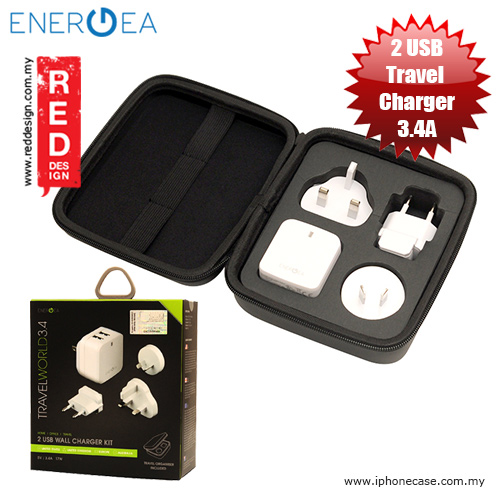 Picture of Energea Travel World 3.4A 2 USB Wall Charger with UK US AU EU Adaptor and Travel Organiser Box Red Design- Red Design Cases, Red Design Covers, iPad Cases and a wide selection of Red Design Accessories in Malaysia, Sabah, Sarawak and Singapore