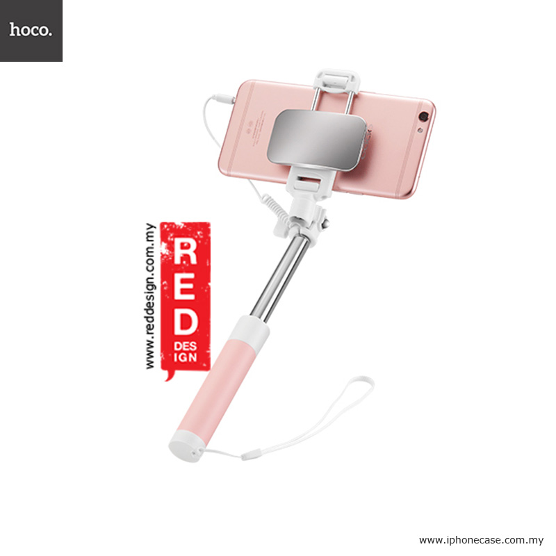 Picture of Hoco Mini Pod Mini Monopod Pocket Size Monopod Selfie Stick with Wire Control and Big Mirror 13.9cm-60cm - Pink Red Design- Red Design Cases, Red Design Covers, iPad Cases and a wide selection of Red Design Accessories in Malaysia, Sabah, Sarawak and Singapore