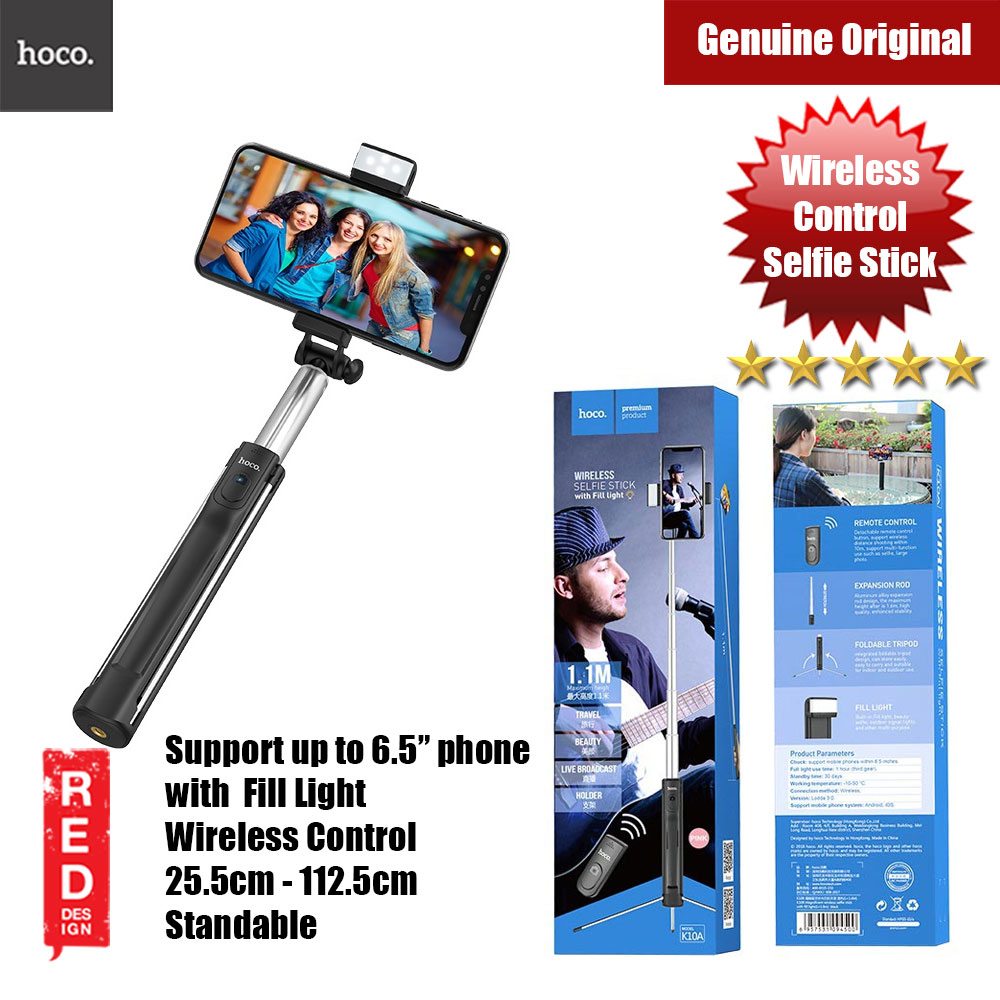 Picture of Hoco Selfie stick wireless monopod remote control with LED Light (Black) Red Design- Red Design Cases, Red Design Covers, iPad Cases and a wide selection of Red Design Accessories in Malaysia, Sabah, Sarawak and Singapore