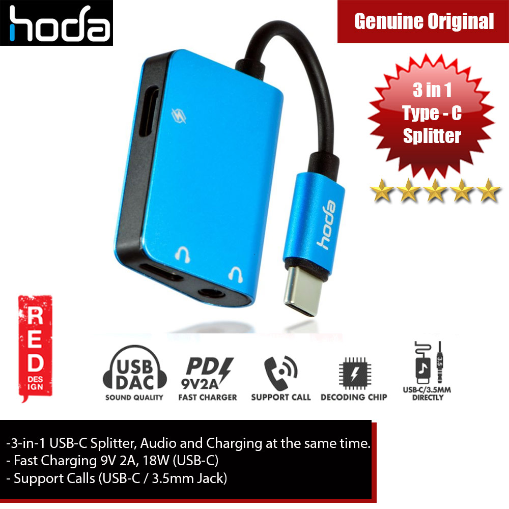 Picture of Hoda 3 in1 USB Splitter USB-C to Audio, 3.5mm Audio and PD Fast Charger for Galaxy Note 10 Plus (Blue) Red Design- Red Design Cases, Red Design Covers, iPad Cases and a wide selection of Red Design Accessories in Malaysia, Sabah, Sarawak and Singapore