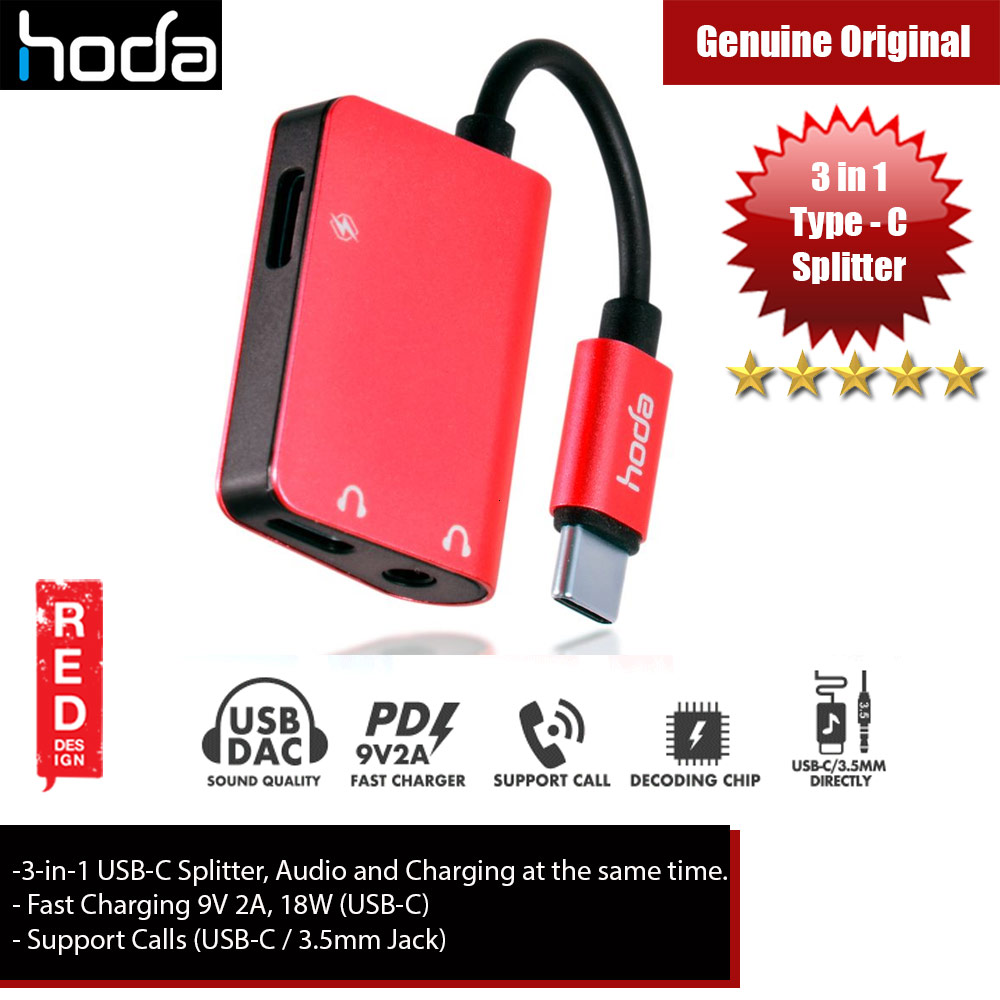 Picture of Hoda 3 in1 USB Splitter USB-C to Audio, 3.5mm Audio and PD Fast Charger for Galaxy Note 10 Plus (Red) Red Design- Red Design Cases, Red Design Covers, iPad Cases and a wide selection of Red Design Accessories in Malaysia, Sabah, Sarawak and Singapore