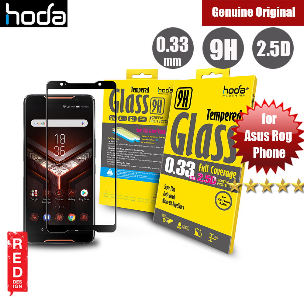 Picture of Asus Rog Phone Screen Protector | Hoda 0.33mm Full Coverage Tempered Glass Screen Protector for Asus Rog Phone (Black)