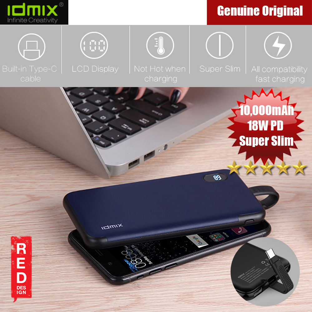 Picture of IDMIX 18W PD Slim LCD Display Power Bank 10000mAh (Black) Red Design- Red Design Cases, Red Design Covers, iPad Cases and a wide selection of Red Design Accessories in Malaysia, Sabah, Sarawak and Singapore