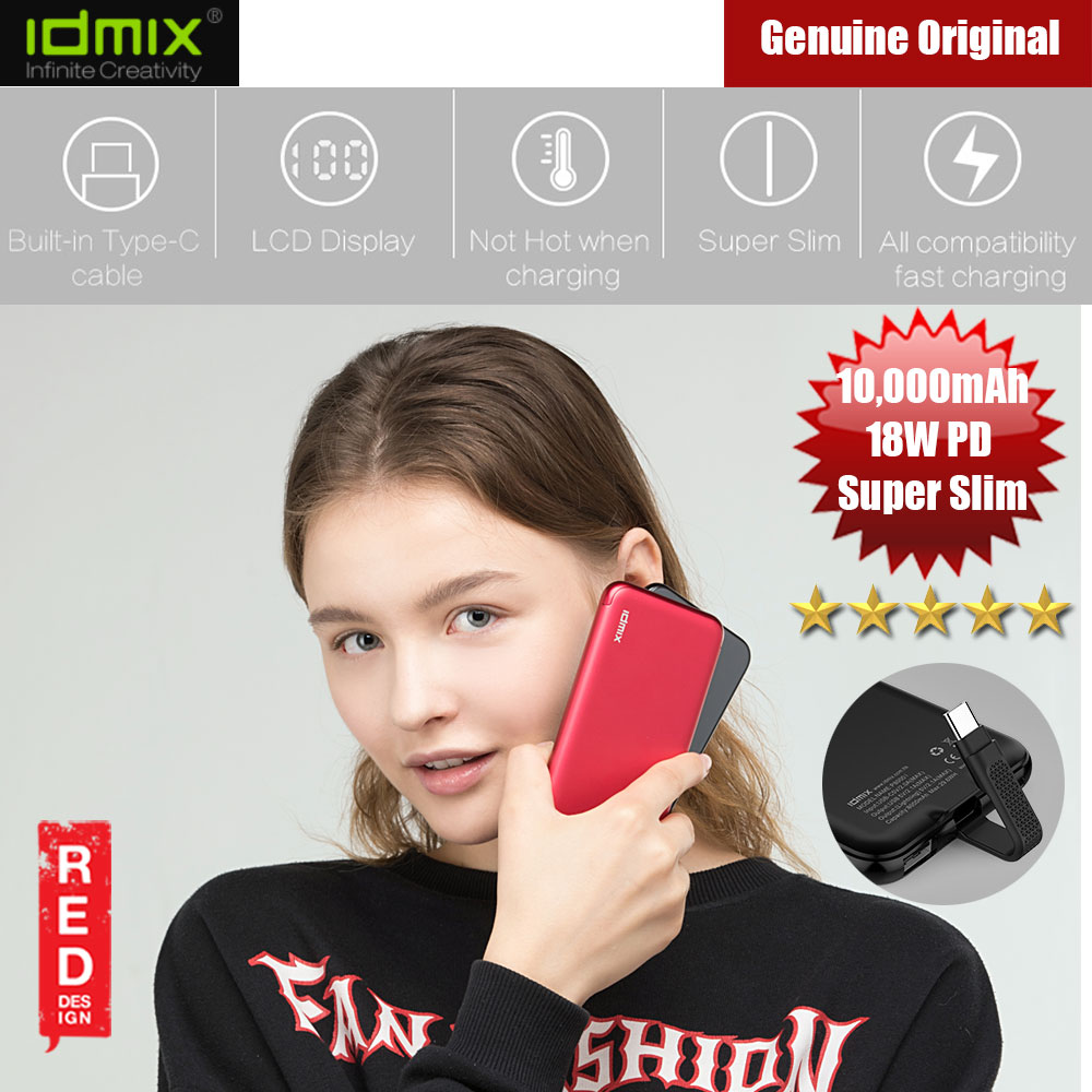 Picture of IDMIX 18W PD Slim LCD Display Power Bank 10000mAh (Red) Red Design- Red Design Cases, Red Design Covers, iPad Cases and a wide selection of Red Design Accessories in Malaysia, Sabah, Sarawak and Singapore