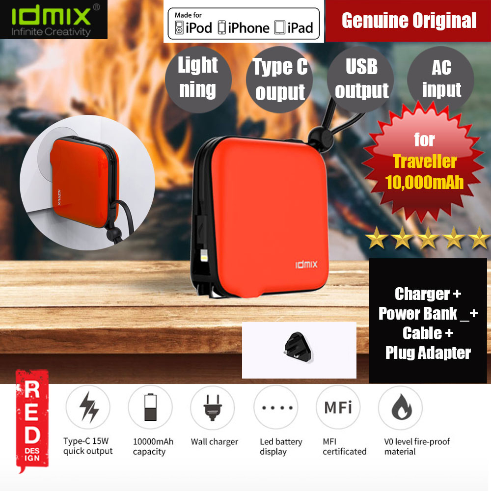 Picture of IDMIX MR CHARGER 10000 Power Bank 10000mAh Hybrid Battery and Traveller Wall Charger With Built-in MFI Lightning Cable and Plug Adapter (Orange) Red Design- Red Design Cases, Red Design Covers, iPad Cases and a wide selection of Red Design Accessories in Malaysia, Sabah, Sarawak and Singapore