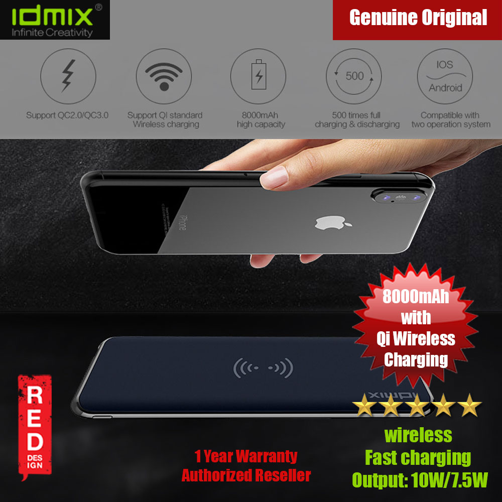 Picture of IDMIX Wireless Charging Qualcomm 3.0 PD 2.0 Power Bank 8000mAh for Samsung Huawei Apple (Blue) Red Design- Red Design Cases, Red Design Covers, iPad Cases and a wide selection of Red Design Accessories in Malaysia, Sabah, Sarawak and Singapore