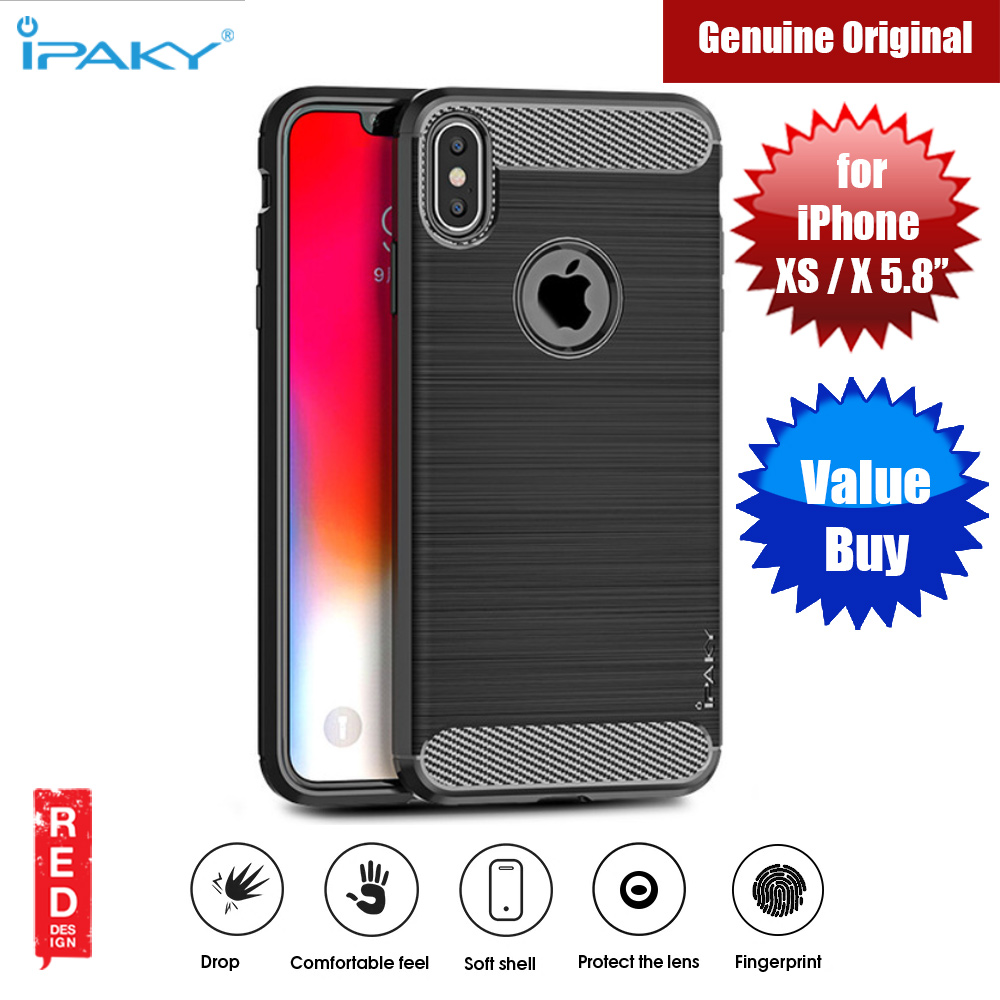 Picture of iPaky Luxury Carbon Fiber Texture Rugged Silicone Shock Proof Case for Apple iPhone XS iPhone X (Black) Apple iPhone X- Apple iPhone X Cases, Apple iPhone X Covers, iPad Cases and a wide selection of Apple iPhone X Accessories in Malaysia, Sabah, Sarawak and Singapore