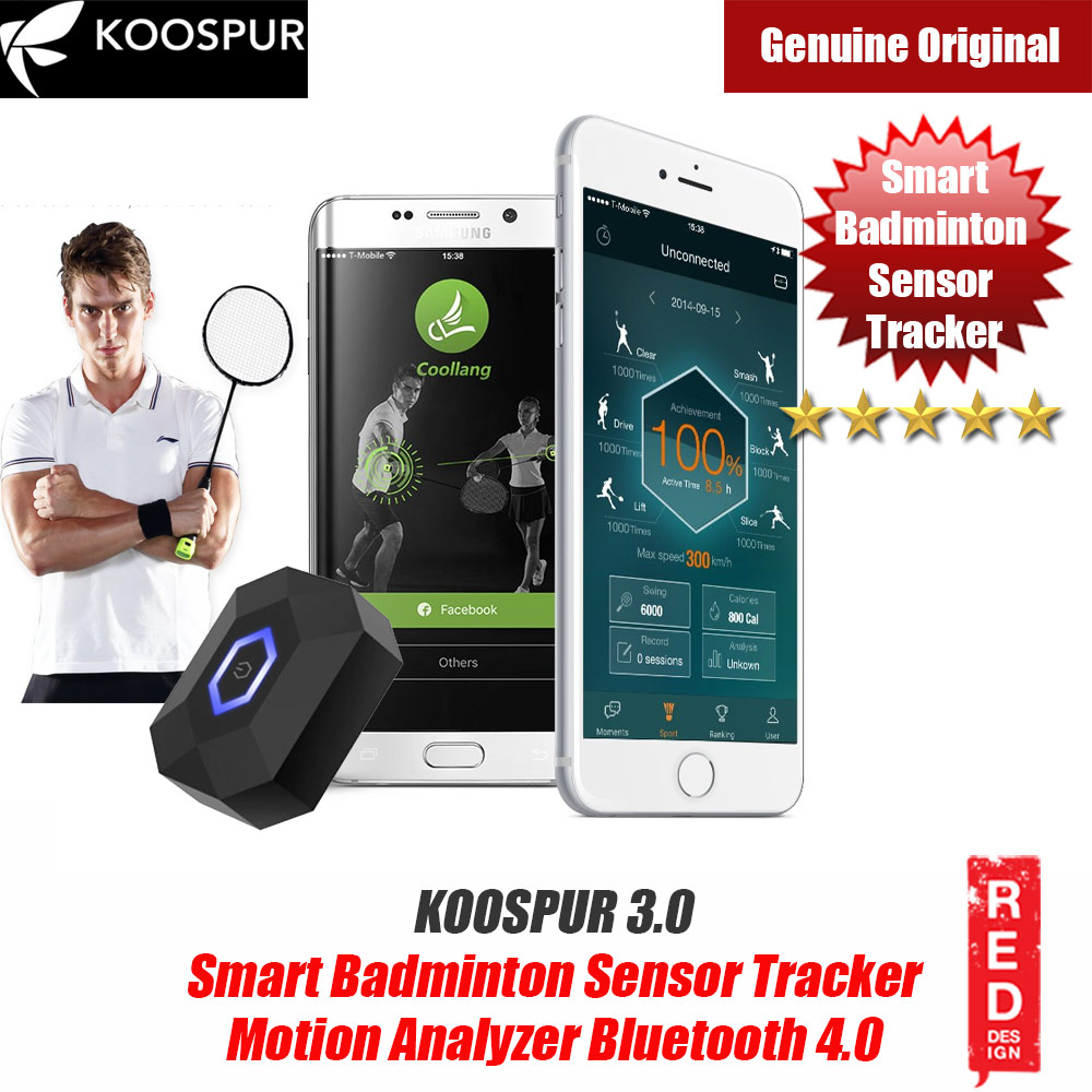Picture of KOOSPUR 3.0 Smart Badminton Racket Forehand Backhand Smash Swing Speed Sensor Tracker Motion Analyzer Bluetooth 4.0 Sport Tracker Compatible with Android IOS Smartphone (Black) Red Design- Red Design Cases, Red Design Covers, iPad Cases and a wide selection of Red Design Accessories in Malaysia, Sabah, Sarawak and Singapore