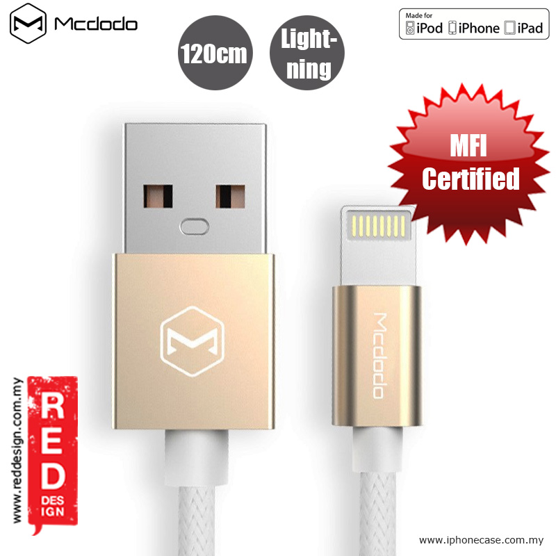 Picture of Mcdodo Bell Series Aluminum Alloy and Nylon Braided MFI Certified Lightning Cable - Champagne Gold Red Design- Red Design Cases, Red Design Covers, iPad Cases and a wide selection of Red Design Accessories in Malaysia, Sabah, Sarawak and Singapore