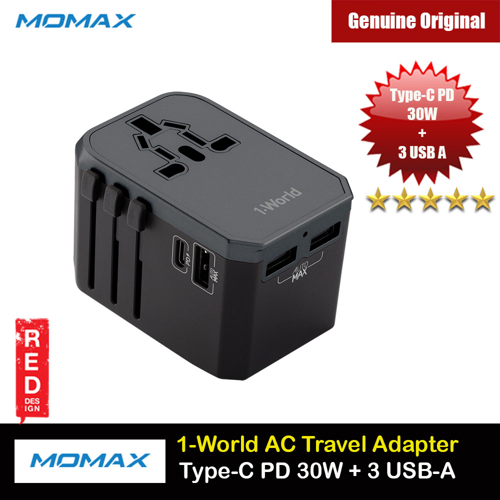 Picture of Momax 1 World AC Universal Travel Adapter USB-C PD 30W and 3 USB-A Charging Power Travel Adapter for iPhone 12 Pro Max Android Phone Tablets (Grey) Red Design- Red Design Cases, Red Design Covers, iPad Cases and a wide selection of Red Design Accessories in Malaysia, Sabah, Sarawak and Singapore