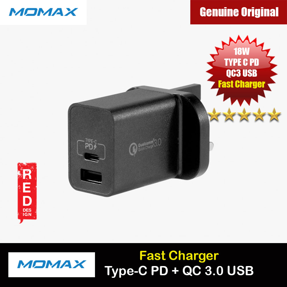 Picture of Momax One Plus 2 Port USB C PD 3.0 18W QC3 18W USB Fast Charger for iPhone 11 iPhone 12 Galaxy Note 20 Ultra Huawei FCP (Black) Red Design- Red Design Cases, Red Design Covers, iPad Cases and a wide selection of Red Design Accessories in Malaysia, Sabah, Sarawak and Singapore