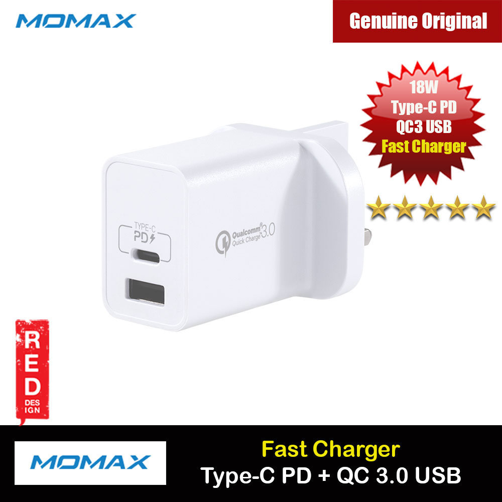 Picture of Momax One Plus 2 Port USB C PD 3.0 18W QC3 18W USB Fast Charger for iPhone 11 iPhone 12 Galaxy Note 20 Ultra Huawei FCP (White) Red Design- Red Design Cases, Red Design Covers, iPad Cases and a wide selection of Red Design Accessories in Malaysia, Sabah, Sarawak and Singapore