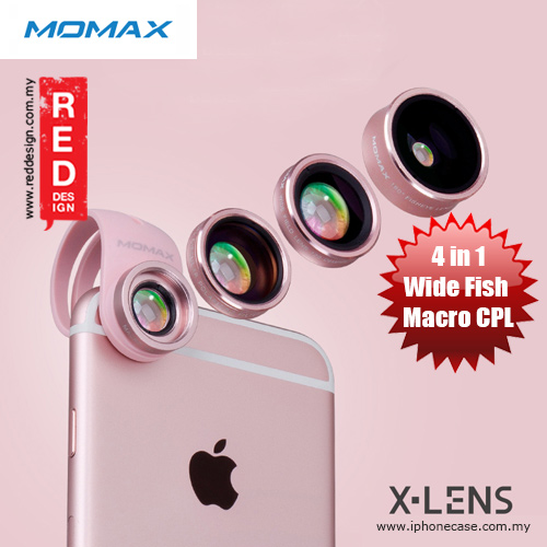 Picture of Momax X-Lens Universal Clip 4 in 1 Superior Lens Wide Angle Macro CPL Filter Fish Eye Smartphone Lens - Rose Gold Red Design- Red Design Cases, Red Design Covers, iPad Cases and a wide selection of Red Design Accessories in Malaysia, Sabah, Sarawak and Singapore
