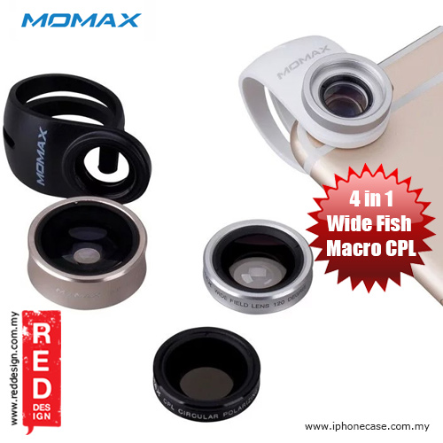 Picture of Momax X-Lens Universal Clip 4 in 1 Superior Lens Wide Angle Macro CPL Filter Fish Eye Smartphone Lens - Silver Red Design- Red Design Cases, Red Design Covers, iPad Cases and a wide selection of Red Design Accessories in Malaysia, Sabah, Sarawak and Singapore