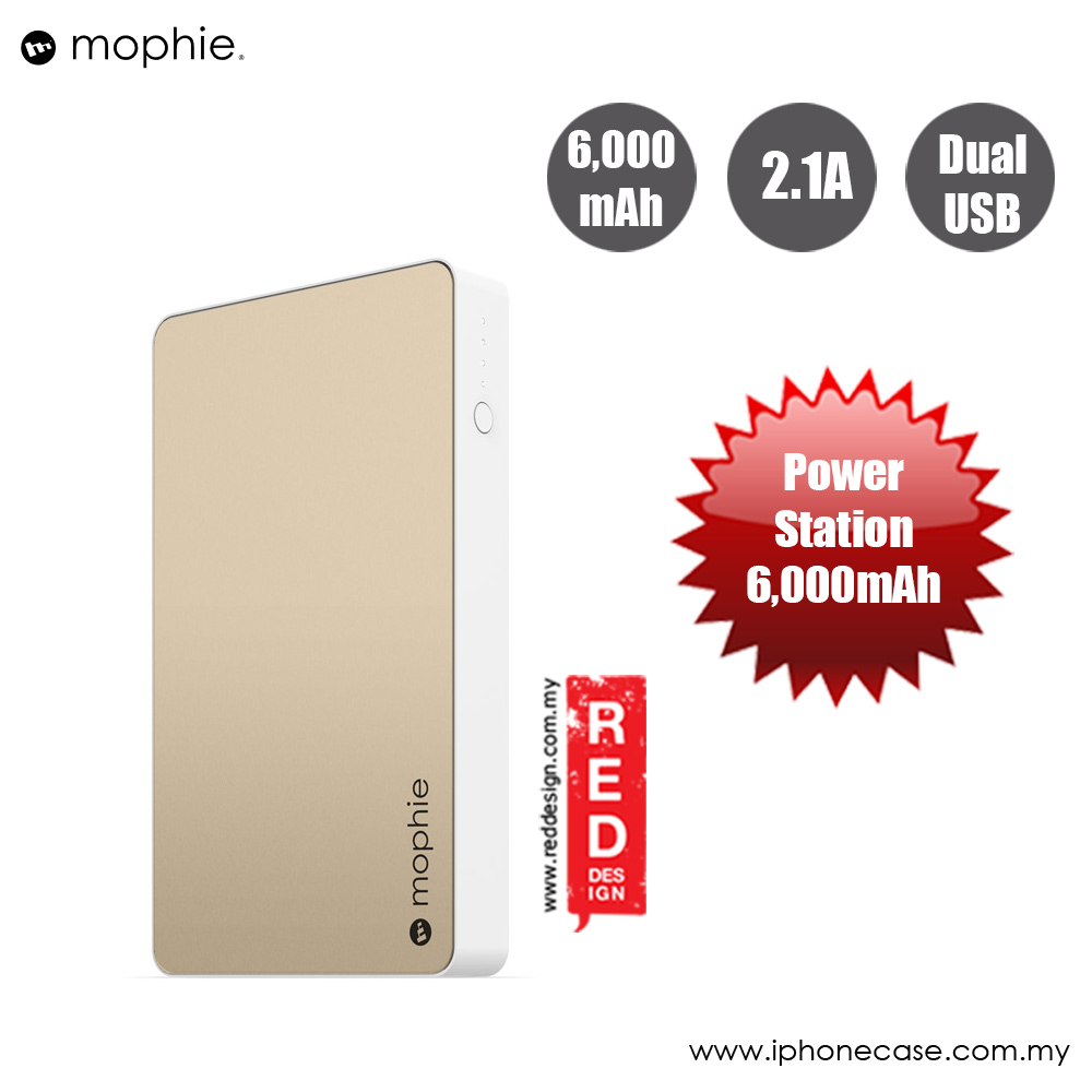 Picture of Mophie Powerstation Power Bank for Smartphones Tablets and USB Devices (6000mAh Gold) Red Design- Red Design Cases, Red Design Covers, iPad Cases and a wide selection of Red Design Accessories in Malaysia, Sabah, Sarawak and Singapore