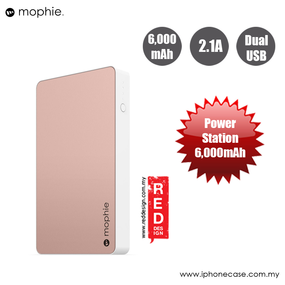 Picture of Mophie Powerstation Power Bank for Smartphones Tablets and USB Devices (6000mAh Rose Gold) Red Design- Red Design Cases, Red Design Covers, iPad Cases and a wide selection of Red Design Accessories in Malaysia, Sabah, Sarawak and Singapore