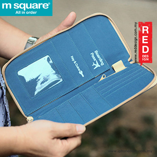 Picture of m square passport cover traveller wallet pouch - polka dot blue